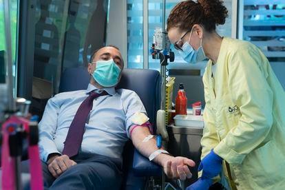Doação de sangue.