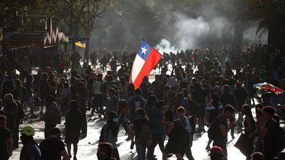 Um protesto em Santiago do Chile.