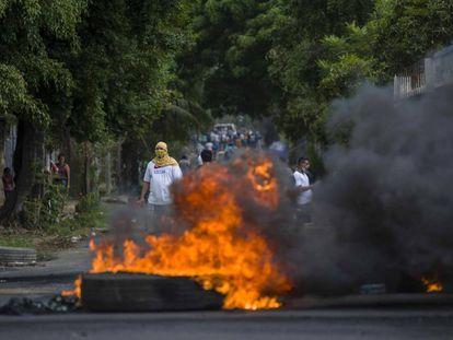 Protestos nas ruas de Managua.