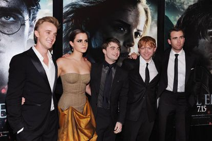 De esquerda a direita, Tom Felton, Emma Watson, Daniel Radcliffe, Rupert Grint e Matthew Lewis, em 2011 em Nova York.