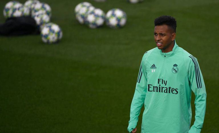Rodrygo no treino do Real Madrid.
