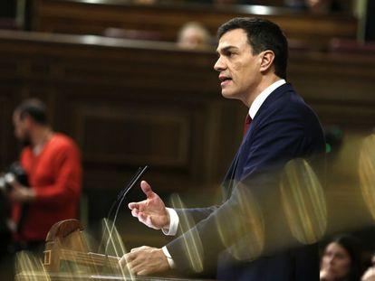 O líder do PSOE, Pedro Sánchez, nesta quarta-feira.