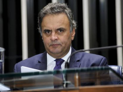 Aécio Neves no plenário do Senado em abril de 2017.
