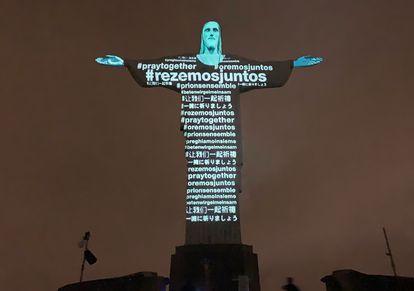 Mensagens em diferentes idiomas projetadas no Cristo Redentor no último dia 18.
