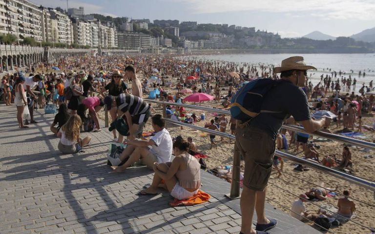 A praia de La Concha, em San Sebastián.
