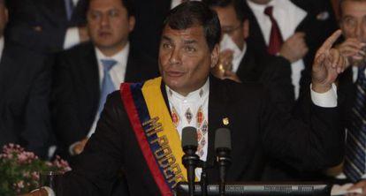 Rafael Correa, presidente do Equador, durante seu informe de governo.