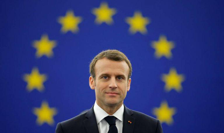 O presidente da França, Emmanuel Macron, durante debate no Parlamento Europeu em Estrasburgo, nesta terça-feira.
