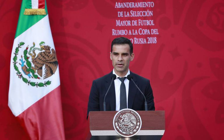Márquez, durante a cerimônia de despedida da seleção mexicana.