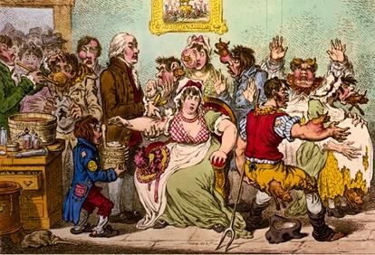 Charge inglesa antivacina do século 19 mostra pessoas desenvolvendo características de vaca após imunização.