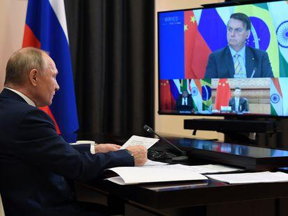 O presidente Vladmir Putin durante cúpula virtual do Brics, em que participou o presidente brasileiro Jair Bolsonaro.