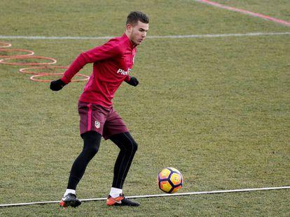 Lucas, em um treino do Atlético de Madrid.