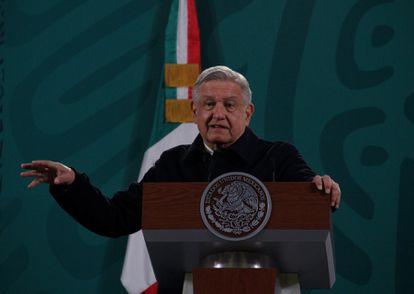 Andrés Manuel López Obrador na coletiva de imprensa matutina nesta terça-feira.