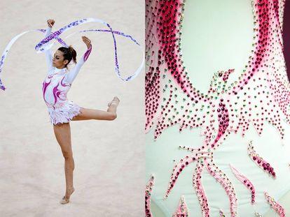 À esquerda, Almudena Cid na final individual de ginástica rítmica de Pequim, nos Jogos Olímpicos de 2008. À direita, detalhe da fênix de seu collant.