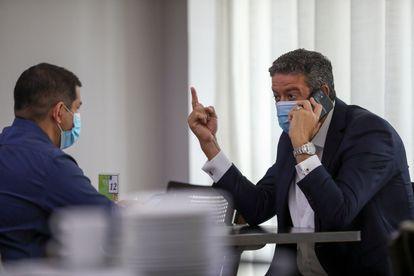Os deputados Marcelo Ramos e Arthur Lira, durante encontro no dia 7, em Manaus.