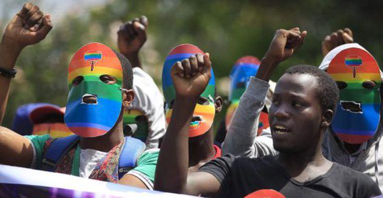 Protesto no Quênia contra a lei antihomossexual da Uganda, em fevereiro.