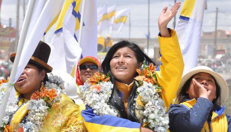 Soledad Chapetón, em um ato de campanha.