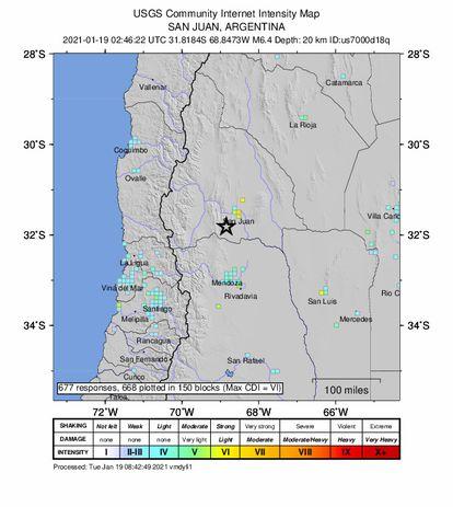 O registro do sismo na Argentina.