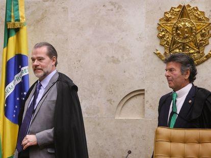 Ministros Dias Toffoli e Luiz Fux após sessão de encerramento do ano forense no STF, em 19 de dezembro de 2019.