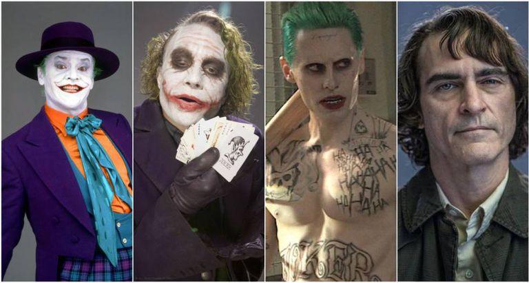 Da esquerda para a direita: Jack Nicholson, Heath Ledger, Jared Leto e Joaquin Phoenix no papel do Coringa.