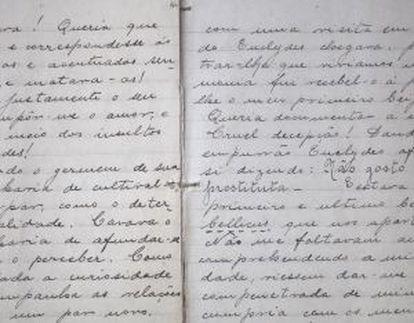 Imagem de uma das páginas do caderno de Anna Emília.