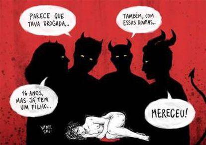Ilustração que circula nas redes com o mote #EstuproNãoÉCulpaDaVítima.