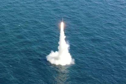 Lançamento de um míssil de submarino sul-coreano nesta quarta-feira, 15 de setembro.