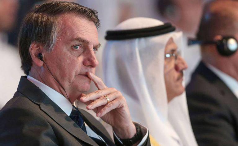 O presidente Jair Bolsonaro, durante visita oficial aos Emirados Árabes Unidos.