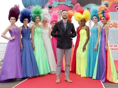 Justin Timberlake na sessão de fotos de 'Trolls' durante a 69° edição do Festival de Cannes, França.