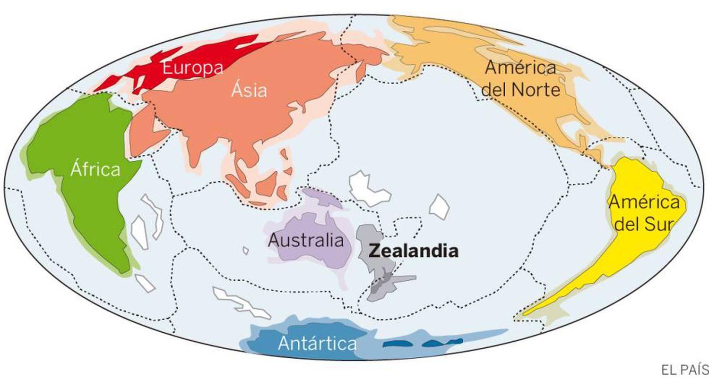 Zealandia, nome em inglês com o que se deu a conhecer o continente achado baixo Nova Zelândia (Zelandia, em espanhol).