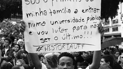 João, durante manifestação.