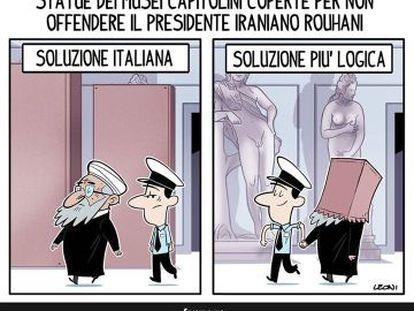 """""""Estátua dos Museus Capitolinos coberta para não ofender o presidente do Irã, Rohani. Solução italiana. Solução mais lógica""""."""