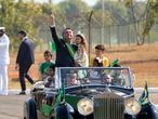 Brazilian President Jair Bolsonaro arrives for a flag raising ceremony at Alvorada Palace presidential residence on Independence Day in Brasilia, Brazil, Tuesday, Sept. 7, 2021. (AP Photo/Eraldo Peres)