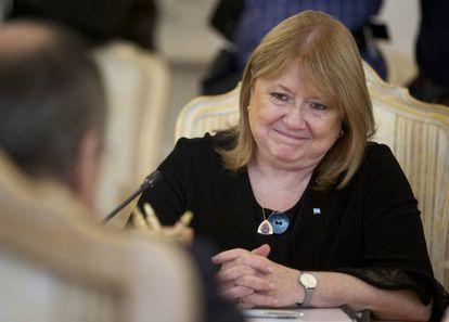 Susana Malcorra, em reunião com seu homólogo russo.