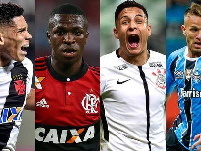 Paulinho, Vinicius Jr, Arana e Arthur: revelações do futebol nacional.