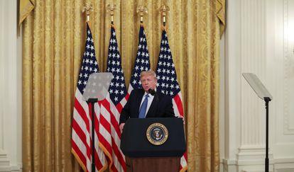 O ex-presidente dos Estados Unidos, Donald Trump, durante entrevista coletiva em 22 de julho de 2020.