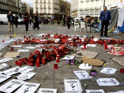 Acampada contra a violência machista na Porta do Sol de Madri.