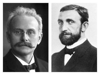 Os físicos nazistas Johannes Stark (à esq.) e Philipp Lenard.