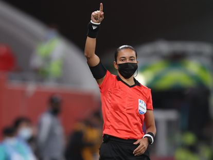 Edina Alves durante a partida entre o mexicano Tigres e o sul-coreano Ulsan Hyundao, na quinta-feira, pelo Mundial de Clubes no Qatar.