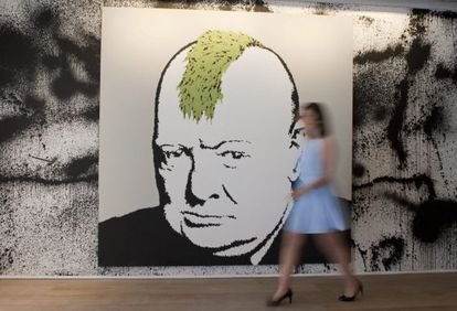Churchill, visto por Banksy, em Londres.