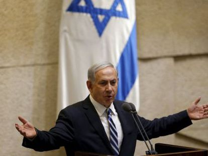 Benjamín Netanyahu, na segunda-feira no Parlamento israelense.