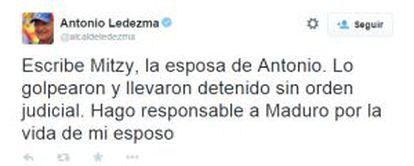 Twitter de @alcaldeledezma. Escreve a esposa de Ledezma.
