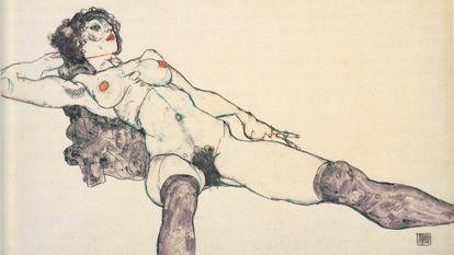 'Nu feminino deitado com as pernas abertas' (1914), de Egon Schiele, conservado no Albertina de Viena.