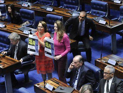 Parlamentares protestam contra PEC do Teto.