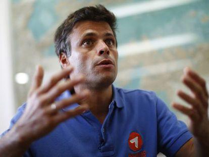 O opositor venezuelano Leopoldo López, no dia 11 de fevereiro.