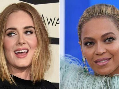 As cantoras Adele e Beyoncé.