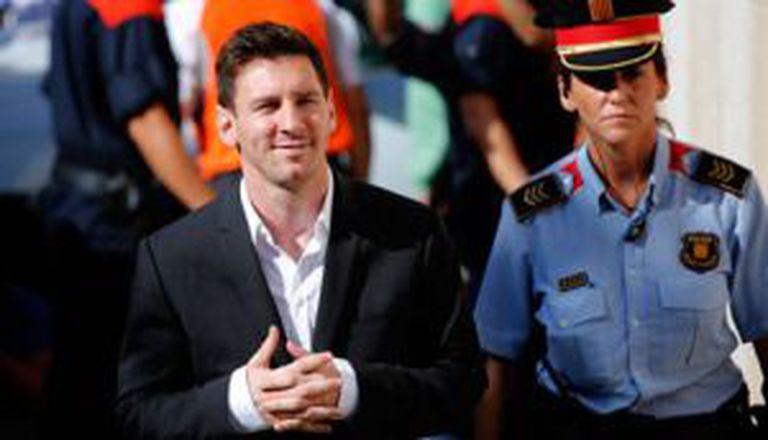 Messi nos tribunais de Gavà, em setembro de 2013.
