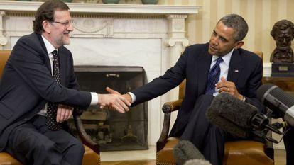 Rajoy estreita a mão de Obama durante sua reuni?n.