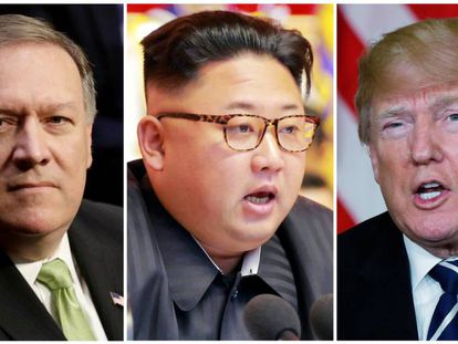 O diretor da CIA, Mike Pompeo; o líder da Coreia do Norte, Kim Jong-un, e o presidente do EUA, Donald Trump.