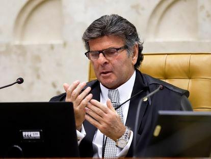 O presidente do STF, Luiz Fux, durante julgamento de caso do traficante André do Rap.