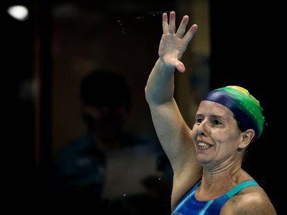 A nadadora Susana Schnarndorf, medalha de prata na Rio 2016, que busca mais uma medalha em Tóquio.